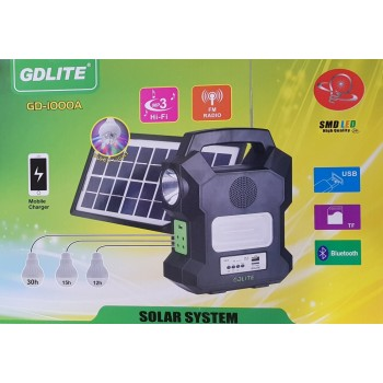 Kit Panou solar fotovoltaic 4 becuri BLUETOOTH radio mp3 incarcare telefoane GD - 1000A