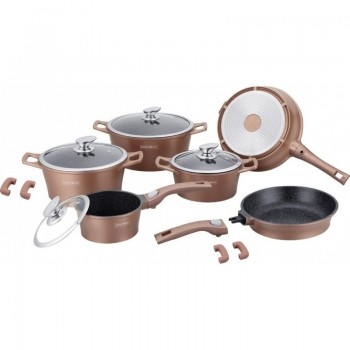 Set de oale -14 piese - Royalty Line - Teflon cu inductie - Maro