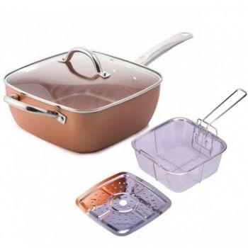Tigaie multifunctionala - patrata - copper - pentru cuptor - MISCHLER COOK